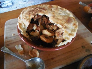 Dried apple pie with bear lard crust.